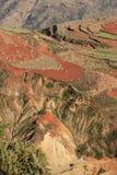 Area rossa della terra nel Yunnan Fotografie Stock Libere da Diritti