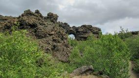 Area scura di formazioni rocciose della lava e foresta islandese verde nell'area di Myvatn, Islanda del Nord, Europa fotografie stock