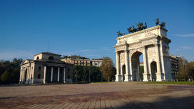 Area Sempione with 'Arca della pace'. In Milan in autumn day Royalty Free Stock Photos