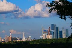 The area of skyscrapers of Moscow City, view from afar through leaves, wood royalty free stock image