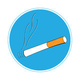 Area for smokers. Cigarette isolated on white background - vector Stock Illustration