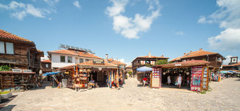 Area the souvenir shops in the old town of Nessebar Stock Image