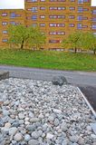 Stones stored on the area in front of the house. An area with stones on the street in front of the house Royalty Free Stock Image