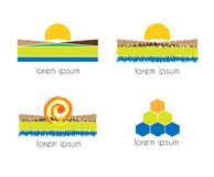 Area with sun, sea, land and hill. Graphic design - area with sun, sea, land and hill Royalty Free Stock Photography