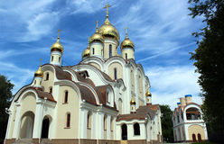 The area of the Temple of the Blessed Matrona of Moscow in the process of building and finishing works, Dmitrov district of the ci Royalty Free Stock Photos
