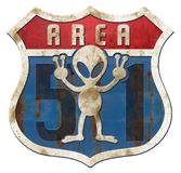 Area 51 Tin Higway Sign. Area 51 Alien Tin Highway Sign Rusted Vintage Retro American Route 66 Royalty Free Stock Photo
