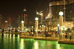 The area with tourist near Burj Khalifa skyscraper Royalty Free Stock Photos