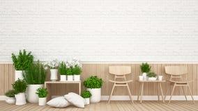 Area vivente in caffetteria o in ristorante - rappresentazione 3D illustrazione di stock