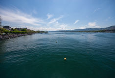 Area of water Zurich lake with alps Royalty Free Stock Photos