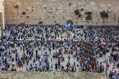 The area of Western Wall of Temple filled with people Royalty Free Stock Photo