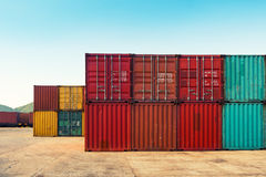 An area yard of cargo container shipping., Container stack. Stock Photos