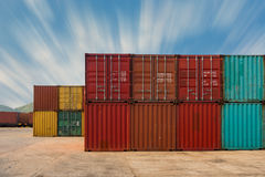 An area yard of cargo container shipping., Container stack. Royalty Free Stock Images