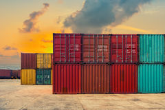An area yard of cargo container shipping. Sunset scene Royalty Free Stock Images