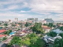 Aerial cityscape of Balikpapan city. On Borneo/Kalimantan island in Indonesia. Indonesia oil and gas Capital Stock Image
