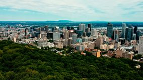 Areal drone image of montreal canada at sunset.  royalty free stock photography