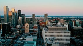 Areal drone image of montreal canada at sunset royalty free stock photos
