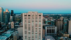 Areal drone image of montreal canada at sunset royalty free stock image