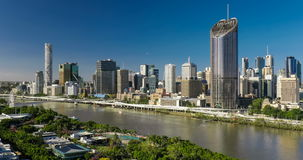 Areal image of Brisbane CBD and South Bank, Australia stock video