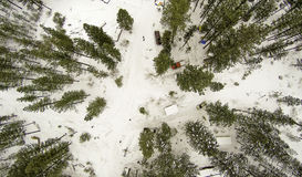 Areal image of a winter forest in Idaho Stock Image
