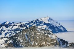 Areal Photo of Black Snowy Mountain Royalty Free Stock Images