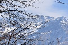 Areal Photograph of Snowy Mountains royalty free stock photos
