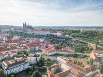 Aerial of Prague Mala Strana and Prague Castle. Aerial of Prague Mala Strana district and Prague Castle Royalty Free Stock Images