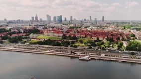 Vistula river, Poland. Areal shoot of Warsaw city skyscrapers in the background and Vistula river in the foreground, Poland stock video footage