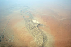 Areal shot of arabian mountains Royalty Free Stock Photo