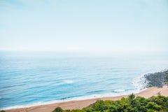 Areal shot of beautiful Jeju island sand beach - South Korea. Areal shot of beautiful sand covered beach at Jeju Island - South Korea Royalty Free Stock Photo