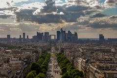 View of paris from Arc de triomphe stock image