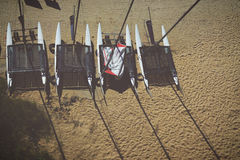 Areal View of 4 White Inflatable Boat on Brown Sands during Daytime Royalty Free Stock Images