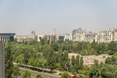 Areal view on Bucharest city. The areal view with architecture on Bucharest city in Romania stock images