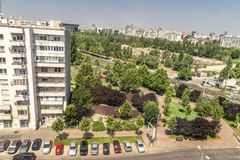 Areal view on Bucharest city. The areal view with architecture on Bucharest city in Romania stock photography