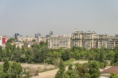Areal view on Bucharest city. The areal view with architecture on Bucharest city in Romania royalty free stock images