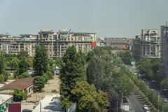 Areal view on Bucharest city. The areal view with architecture on Bucharest city in Romania stock photo