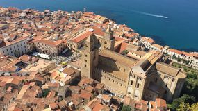 Areal view of Cefalu, Italy. Beautiful photo of sicilian coastline stock photos