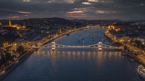 Areal view of the Chain Bridge in the Capital of Hungary, Budapest stock images