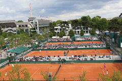 Areal view of the clay courts at Le Stade Roland Garros during Roland Garros 2015 Stock Image