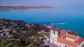 Areal view of the Curch in Tihany, with lake Balaton in the Background stock photo