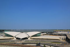Areal view of the historic TWA Flight Center and JetBlue Terminal 5 at John F Kennedy International Airport Stock Images