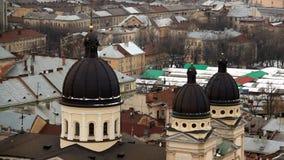 Areal view on Lviv, Ukraine stock video footage