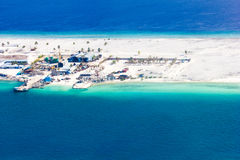 Areal view of Male and the Trans Maldivian Airport stock photos