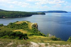 Areal view from Molodezky kurgan to Zhiguli hills and river Volga with blue sky and green grass stock photos