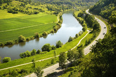 Areal view on Neckar river in Germany. Areal view on Neckar river winding its way through a green valley in Germany stock photography