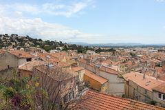 Areal view over The Old Town of Hyères, France Stock Photos