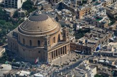 Areal view over the Rotunda of Mosta - the Parish Church of the Assumption. This church is located on Malta royalty free stock photo