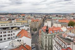 Areal view of Prague from Tower. Areal view of Prague from nearly 70 m high New Town Hall, Czech Republic royalty free stock photography