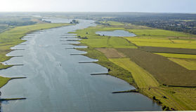 Aerial view on the river Rhine Stock Photo
