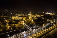 Areal view of the Royal Palace in Budapest by night. This areal view of the Royal Palace in Budapest was taken with a dji mavic pro drone by night above the royalty free stock photo