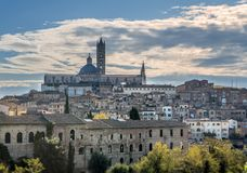 View of Santa Maria catedral,Siena, Tuscany, Italy. Areal view of Santa Maria catedral in the medieval city of Siena, Tuscany, Italy Royalty Free Stock Images